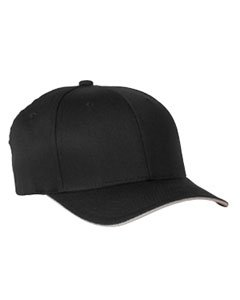 Flexfit Cool & Dry Sandwich Cap - BLACK/SILVER - (Panel Mid Profile Sandwich Cap)