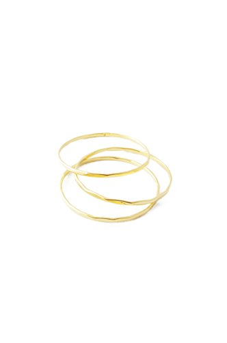 HONEYCAT Super Skinny Hammered Stacking Rings Trio Set in Gold, Rose Gold, or Silver | Minimalist, Delicate Jewelry - Gold Stackable