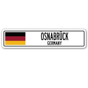 - OSNABRÜCK, GERMANY Street Sign Sticker Decal Wall Window Door German flag city country road wall 8.25 x 2.0