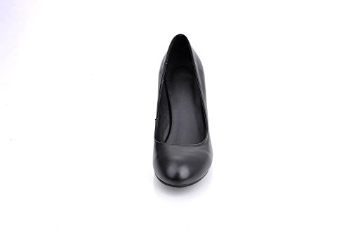 Solid Leather Cut Shoes Uppers BalaMasa Round Toe Low Pumps Black Girls Cow 41qxwYgFx