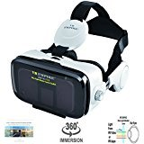 VR Headset; Anti-Blue-Light Lenses; 120° FOV; Stereo Headset; phone answering button; Virtual Reality Glasses VR Goggles Fit For 4.0-6.2 inch Smartphone (V7.0-Anti-blue-6White-NO RC)