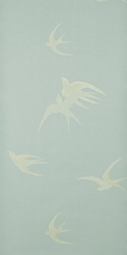 Image Unavailable. Image not available for. Colour: Sanderson Wallpaper Swallows Silver DVIWSW104