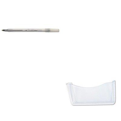 KITBICGSM11BKRUB65972ROS - Value Kit - Rubbermaid Unbreakable Single Pocket Wall File (RUB65972ROS) and BIC Round Stic Ballpoint Stick Pen (BICGSM11BK)