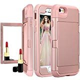iphone 6s Plus Mirror Wallet Case,Auker Card Holder Feature 2 in 1 Slim Fit Armor [Hard Shell+Soft Silicon] Shockproof Impact...
