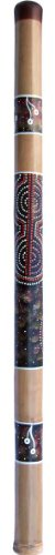 Bamboo Aboriginal Celestial Didgeridoo, 4 feet long, with primitive painted Aboriginal celestial design. Made in Bali. From our Aboriginal Didgeridoo and Musical Instruments Collections.
