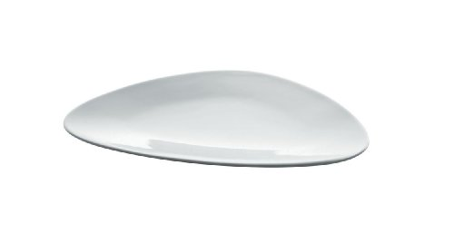 Alessi Colombina 7-3/4-Inch by 9-1/4-Inch Dessert Plate, White Porcelain, Set of 6