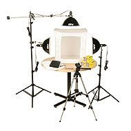 Smith-Victor KLB-3, Three Light 1500 Total watt Photoflood Light Box Kit with 28