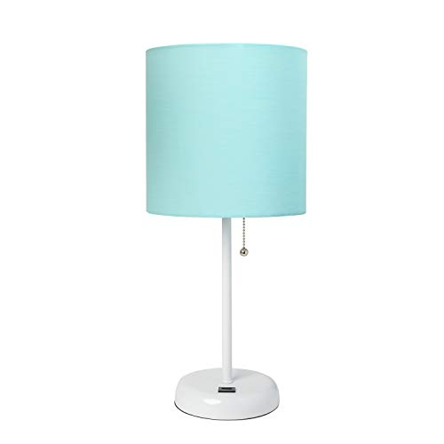 Limelights LT2044-AOW Stick USB Charging Port and Fabric Shade Table Lamp, White/Aqua