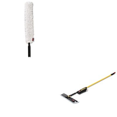 KITRCP3486108RCPQ852WHI - Value Kit - Light Commercial Spray Mop, 18quot; Frame, 52quot; Steel Handle (RCP3486108) and RUBBERMAID COMMERCIAL PROD. HYGEN Quick-Connect Flexible Dusting Wand (RCPQ852WHI)