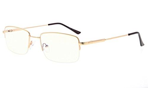 Eyekepper Half-Rim Reading Glasses-Blue Light Blocking-Reduced Eye Strain-Memory Computer Glasses Titanium Readers Men, Transparent Lenses (Gold,+1.50)