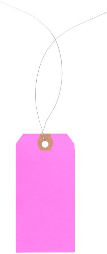 """Aviditi G12043E Pre Wired Shipping Blank Tag, 13 Point Cardstock, 4-1/4"""" Height x 2-1/8"""" Width, Fluorescent Pink (Case of 1000)"""