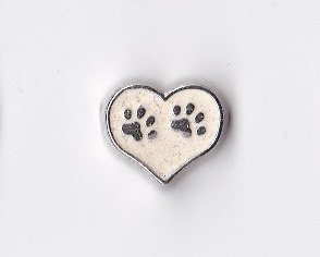 (White Heart with Paw Prints Floating Charm )