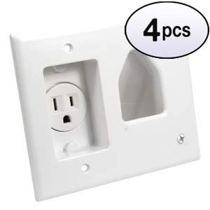 GOWOS (4 Pack) Recessed Low Voltage Cable Plate with Recessed Power, White