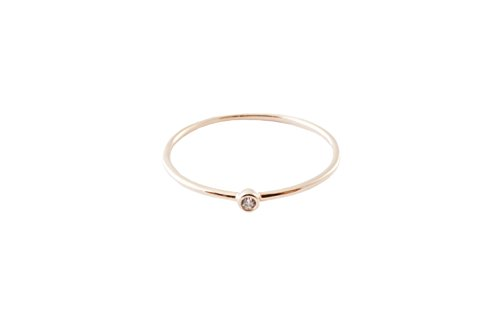 HONEYCAT Bezel Solitaire Ring in Gold, Rose Gold Silver | Minimalist, Delicate Jewelry (Rose Gold, 8)