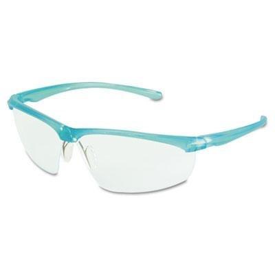 3M 11735 Refine 201 Safety Glasses, Wraparound, Clear AntiFog Lens, Teal Frame (Glass Teal)
