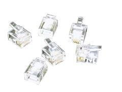 - C2G 27556 RJ11 6x4 Modular Plug for Flat Stranded Cable Multipack (10 Pack) Clear