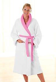 Da donna, colore: Bianco e rosa di lusso in pile da bagno/casa accappatoio vestaglia–Small