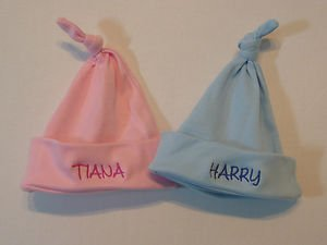 a6f0cb714 Personalised newborn baby hat embroidered any name (Pink Hat)