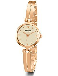 ETEVON Women Quartz Rose Gold Wrist Watch with Stylish Bracelet Stainless Steel Fashion Luxury Dress Bangle Watches for Women Ladies Girls