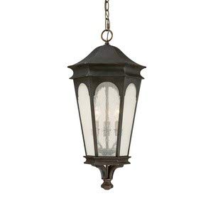 Capital Lighting 9386OB Hanging Lantern with Seeded Glass Shades, Old Bronze Finish