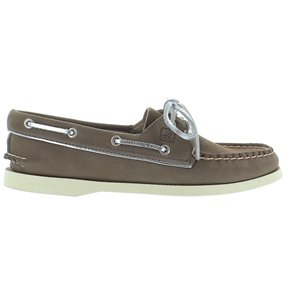 Sperry Top-Sider Women's Authentic Original 2-Eye Boat Shoe (6 B(M) US, Greige/Silver Metallic Piping)