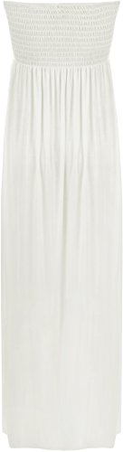WearAll Tailles bustier Crme plisse longue 38 Robe Robes Maxi Plaine 36 Femme rwrpPqE8
