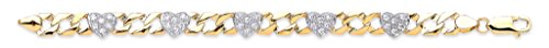 Jewellery World Bague en or jaune 9 carats Bracelet pierre transparente Cœur Bébé