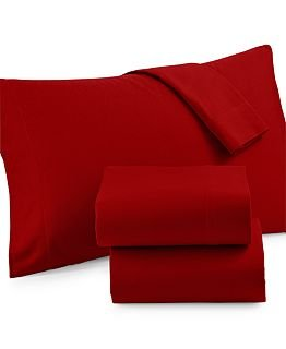Martha Stewart Collection Solid Flannel Twin Sheet Set (Twin, Holiday (Twin Sheet Set Rustic Cabin)