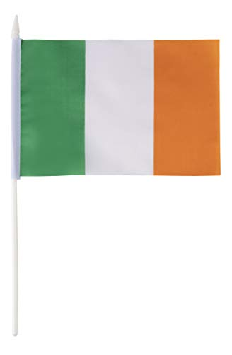 Juvale Irish Stick Flags - 72-Piece Hand-Held Ireland Flags on Stick with Spearhead Tip, 5.5 x 7.8 -