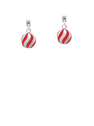 (3-D Red and Striped Ornament Clear Crystal Post)