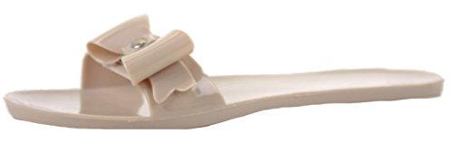 shoefashionista Ladies Toe Post Flat Bow Diamante Flip Flops Summer Jelly Shoes Sandals Size Style 6 - Nude KUrn7c