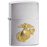 New Zippo Marine Emblem Lighter Brushed Chrome Finish Gold Tone U.S. Marines Emblem Front (Rocky Zippo Mountain)