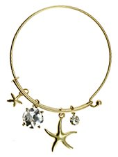 Womens Jewelry, Star Fish, Gold Tone Metal Hook Bangle w/ Assorted Accents Crystal Accent Rhinestone Accent Star Fish Gold Tone Metal Hook Bangle Assorted Accents - Materials: Metal - Length: Diamter: 2.5 Inch (Crystal Accent Gold Tone Key)