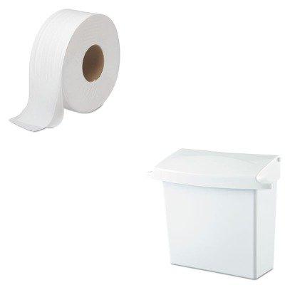 KITBWK6100RCP614000 - Value Kit - Rubbermaid Sanitary Napkin Receptacle with Rigid Liner (RCP614000) and Boardwalk 6100 Jumbo Roll Bathroom Tissue (BWK6100)