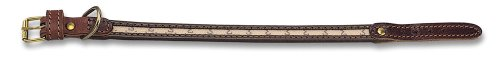 Petego La Cinopelca Monogram Flat Dog Collar, Ecru, 1/2 Inches, Fits 14 Inches to 16 Inches