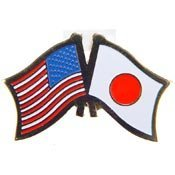 World National Flag (Metal Lapel Pin - American and World National Flag Crossed - Japan)