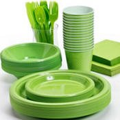 Pans Pro Tableware 48 Serving Party Set, Forks, Spoons, Knives, Plates, Bowls, Cups, Napkins, Tablecovers (Green)