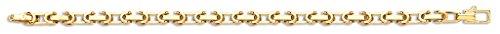 Jewellery World Bague en or jaune 9carats creux Inter verrouillage Lien Chaîne Bracelet 20,3cm