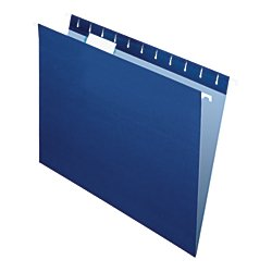 Office Depot 2-Tone Hanging File Folders, 1/5 Cut, 8 1/2in. x 11in, Letter Size, Navy, Box of 25, OD81615