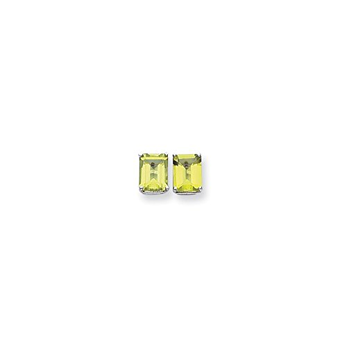 14k White Gold Polished Post Earrings 9x7mm Emerald-Cut Peridot (Emerald Cut Peridot Post Earrings)