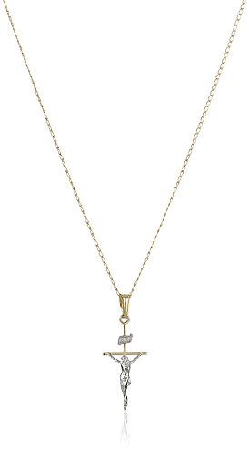 (14k Gold-Filled Two-Tone Crucifix Cross Pendant Necklace, 18