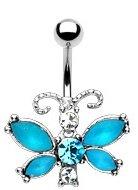 - LA Style Aqua Blue Crystal Butterfly Navel Jewelry