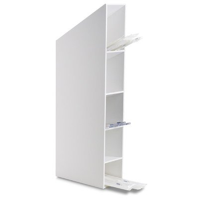 TrippNT 50869 White PVC Hood or Wall Mount Pipette Storage Bin with Mounting Magnet, 5'' Width x 27'' Height x 10'' Depth