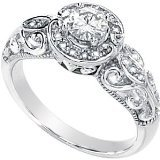 Gorgeous! Women's 14k White-gold Moissanite And Diamond Ring