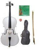 GRACE 4/4 Size White Cello with Bag and Bow+Rosin+Extra Set of Strings