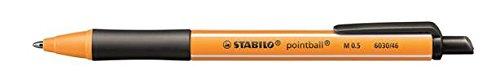 STABILO pointball schwarz, 10er Faltschachtel - Kugelschreiber mit Druckmechanik aus 79% recyceltem Kunststoff + Refill