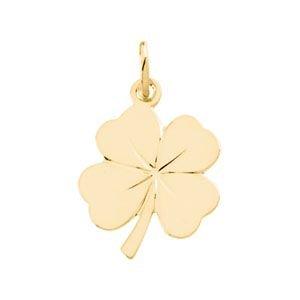 Or jaune 14 carats en forme de trèfle à 4 feuilles (18 x 14-JewelryWeb