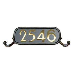 (Addresses of Distinction Williamsburg Style 3 Address Plate - Oversized Plaque for House Numbers - Rust Proof Aluminum Mailbox Topper - Mounting Hardware Included (Includes Solid Brass Numbers))