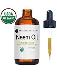 Neem Oil (4oz) by Kate Blanc. USDA Certified Organic, Virgin, Cold Pressed, 100% Pure. Great for Hair, Skin, Nails. Natural...