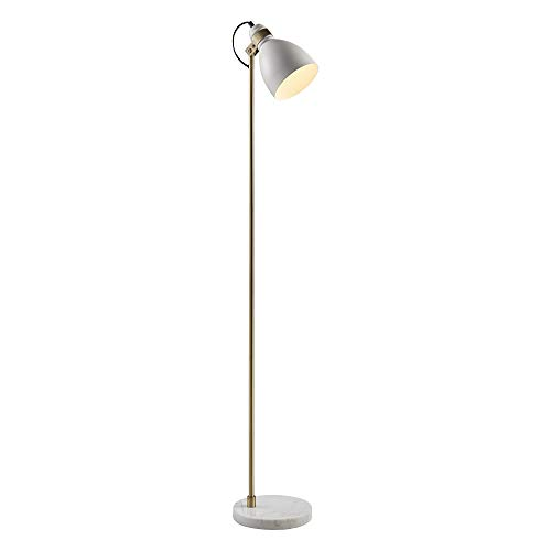 Versanora VN-L00059 Quincy Floor Lamp Marble Base-White/Antique Brass - Floor Marble Lamp Base
